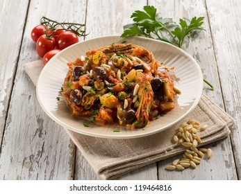 caponata with artichoke and pine nuts