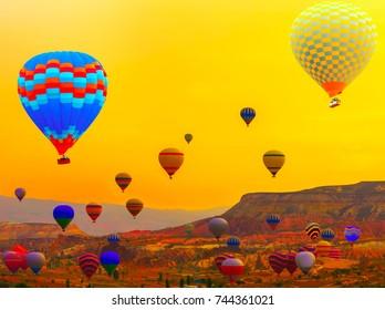 Cappadocia - balloon flight, Colorful Hot air balloon at the sunrise in Cappadocia, Turkey