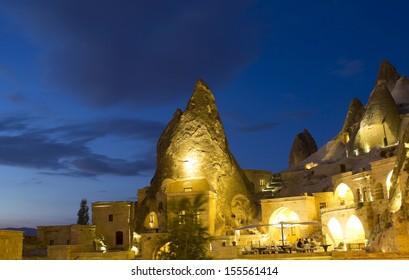 Cappadocia cave houses at night, Turkey