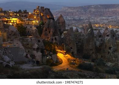 Nachts Kappadokien-Berge, Türkei
