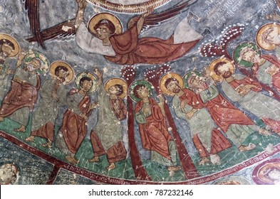 Cappadocia, Turkey - April 25, 2016: Destroyed interior of the Saint George Church with early ortodox christian fresco in Ihlara Valley in Cappadocia, Central Anatolia, Turkey
