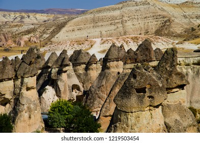 Cappadocia - Turkey - August 2018: Rocks Pinnacles Landscape.