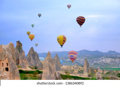 """""""Cappadocia, Turkey: Circa, April 2019: A morning picture of Cappadocia Hot Air Balloon during sunrise. Chinese have secure the deal for 1 million people each week for Cappadocia Hot Air Balloon."""""""