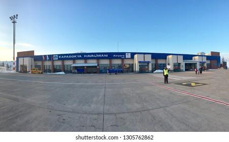 "CAPPADOCIA, TURKEY - JAN 21 2019: Kapadokya domestic airport panoramic apron view.  ""Kapadokya Airport"" is outside of Nevsehir in a village called Tuzkoyu."