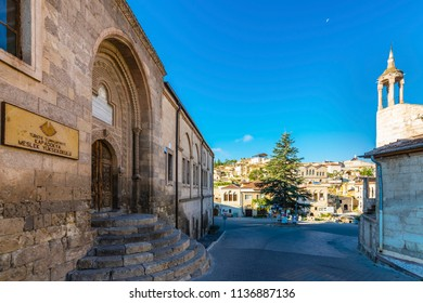 Cappadocia, Turkey - July 04, 2018 : Mehmet Sakirpasa Madrasah and Camii Kabir Mosque view in Muratpasa Town of Cappadocia Region