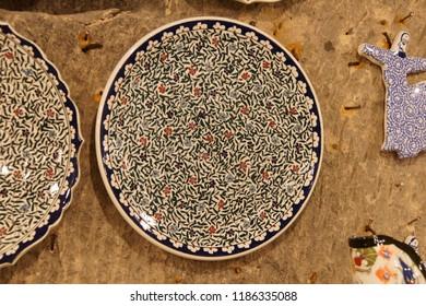 CAPPADOCIA, TURKEY - JUN 4, 2014 - Brightly colored porcelain dish from pottery factory in Avanos, Cappadocia,  Turkey