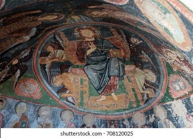 CAPPADOCIA, TURKEY - JUN 4, 2014 - Jesus Christ and his apostles, Damaged Christian frescoes in the  Hacli (Cross) Church, Kizilcukur Valley, Cappadocia,  Turkey
