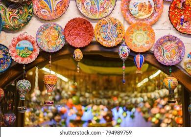 CAPPADOCIA, TURKEY - JUNE 11, 2016: Traditional Turkish handcrafted decorated plates, shot at the souvenir shop in Cappadocia, Turkey.