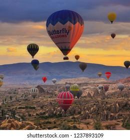 Cappadocia / Turkey - November 23 2017 : Shots from the hot air balloons ride