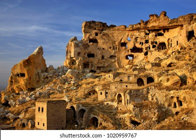 CAPPADOCIA, TURKEY. The old troglodyte settlement of Cavusin, where you can see the oldest rock cut church in the region
