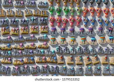 CAPPADOCIA, TURKEY - SEP 11, 2019 - Brightly colored porcelain kitchen magnets Pasabaglari, Cappadocia, Turkey