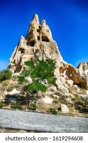 CAPPADOCIA, TURKEY - SEP 11, 2019 - Ancient Christian cave churches ,Goreme Open Air Museum,  Cappadocia,  Turkey