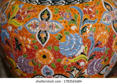 CAPPADOCIA, TURKEY - SEP 11, 2019 - Brightly colored porcelain art items from pottery factory in Avanos, Cappadocia,  Turkey