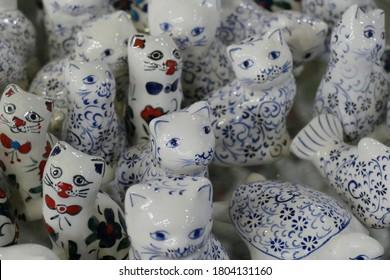 CAPPADOCIA, TURKEY - SEP 11, 2019 - Kindle of porcelain kittens  from pottery factory in Avanos, Cappadocia,  Turkey