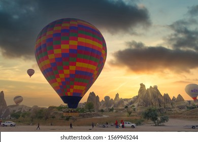 Cappadocia, Turkey - September, 2019: Hot air balloon flying over spectacular Cappadocia. Hot air balloon flying over spectacular Cappadocia