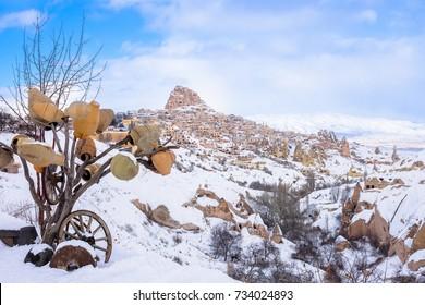 Cappadocia. Uchisar city. Turkey travel. Kapadokya. Turkish heritage travel. Uchisar pigeon valley. Uchisar rock mountain. Uchisar castle. Winter season
