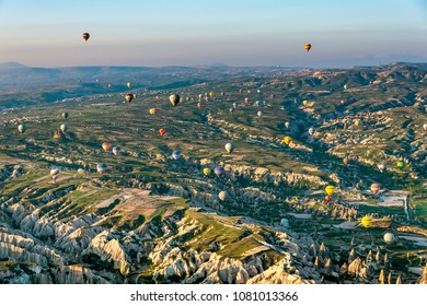 CAPPADOCIA,TURKEY - APRIL 15 ,2018 : Hot air balloon ride in the morning is the popular activity for the tourist travelling in Turkey.