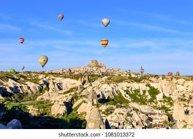 CAPPADOCIA,TURKEY - APRIL 16 ,2018 : Hot air balloon ride in the morning is the popular activity for the tourist travelling in Turkey.