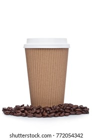 Cappuccino Coffee paper cup with beans for takeaway on white background