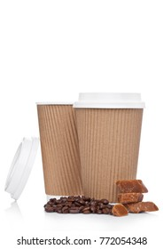 Cappuccino Coffee paper cup with beans and caramel on white