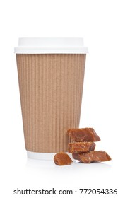 Cappuccino Coffee paper cup with caramel for takeaway on white background