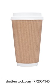 Cappuccino Coffee paper cup  for takeaway on white background