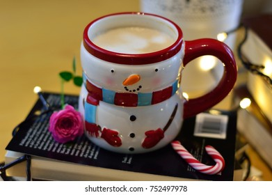 cappuccino cup shaped like a snowman