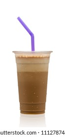 Cappuccino frappe isolated on white background with clipping path included.