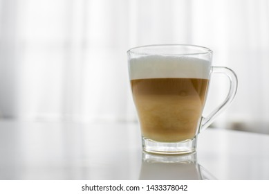 cappuccino in a glass cup