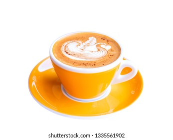 Cappuccino hot coffee in the orange / yellow cup on isolated / white background with clipping path