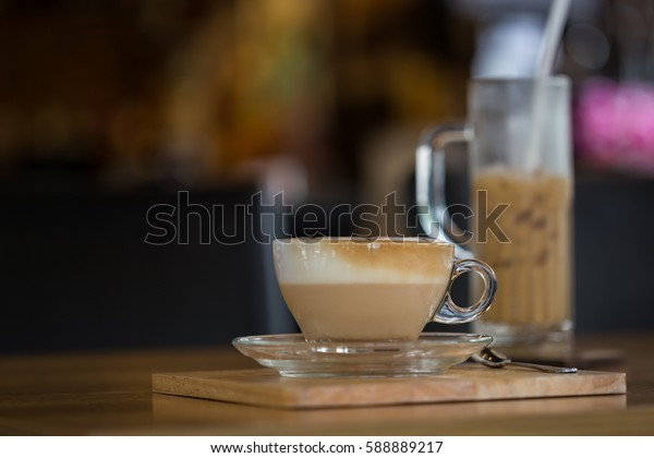 Cappuccino or Latte art coffee cup with copy space