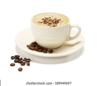 cappuccino on a white background with a soft shadow with some coffee beans