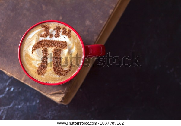 cappuccino in a red cup with a figure symbol of the number pi