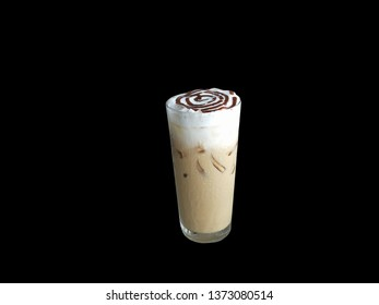 cappuchino ice coffee isolated on black background
