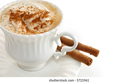 cappucino coffee in white background