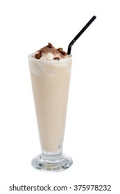 cappucino milkshake drink on white background