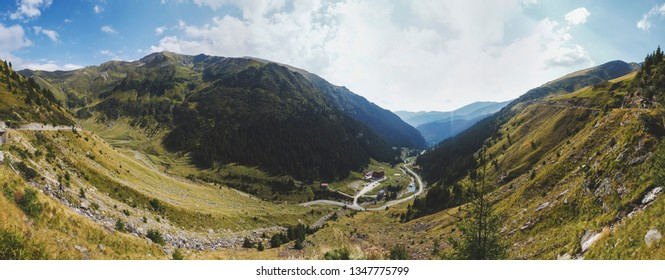 Pârâul Capra, Arges County/Romania-August 23 2017: View from the Transfagarasean road from Arges County
