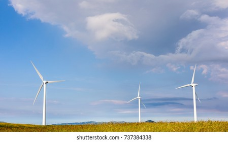 Capracotta, Molise, Italy 26 June 2017. Wind turbines for renewable sources of electricity without pollution