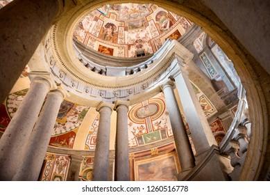 CAPRAROLA, ITALY – MARCH 23, 2016: The Villa Farnese (in italian Palazzo Farnese), a mansion in the town of Caprarola near Viterbo, Northern Lazio, Italy,