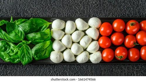 Caprese Salad arranged in Italian flag