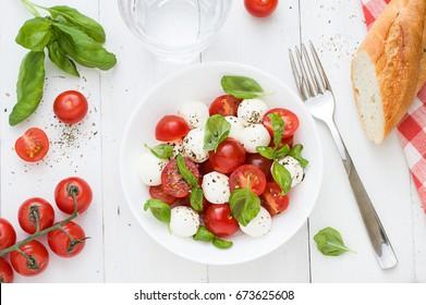Caprese salad flat lay. Top view