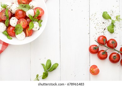 Caprese salad. Frame. Copy space