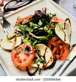 Caprese Salad Mozzarella and Tomato with Mixed Greens