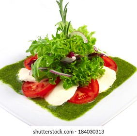 caprese salad on white background