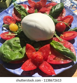 Caprese salad outside in the sun