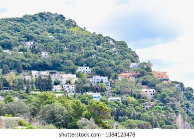 Capri Island, Italy - APRIL 13, 2019: Hillside Villages on Capri Island in Southern Italy