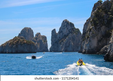 Capri, Italy 2015-06-27 Boating and touring around the rocky shores on the water around the island of Capri , Italy