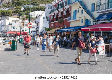 CAPRI, ITALY - 25th of August 2014: One of the streets in Capri on 25th of August 2014 in CAPRI, ITALY