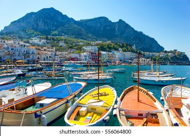 Capri, Italy - April 22, 2007: Boat for tourists in the Marina Grande harbor