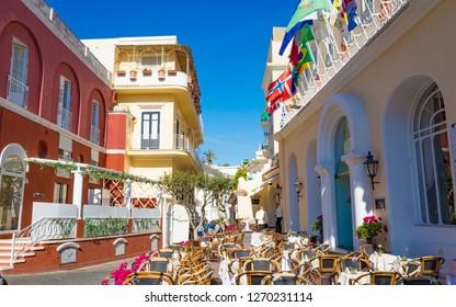Capri, Italy - April 23, 2018: Via Camerelle near Grand Hotel Quisisana in sunny day on Capri Island, Italy